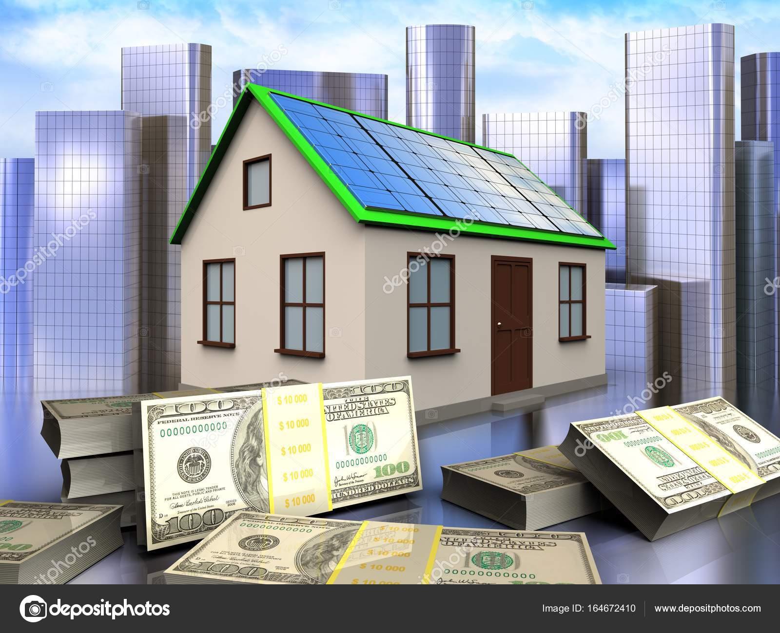Delightful 3D Abbildung Des Hauses Mit Solar Panel Mit Banknoten über Stadt  Hintergrund U2014 Foto Von Mmaxer