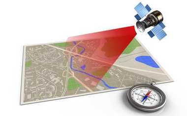 illustration of map with compass