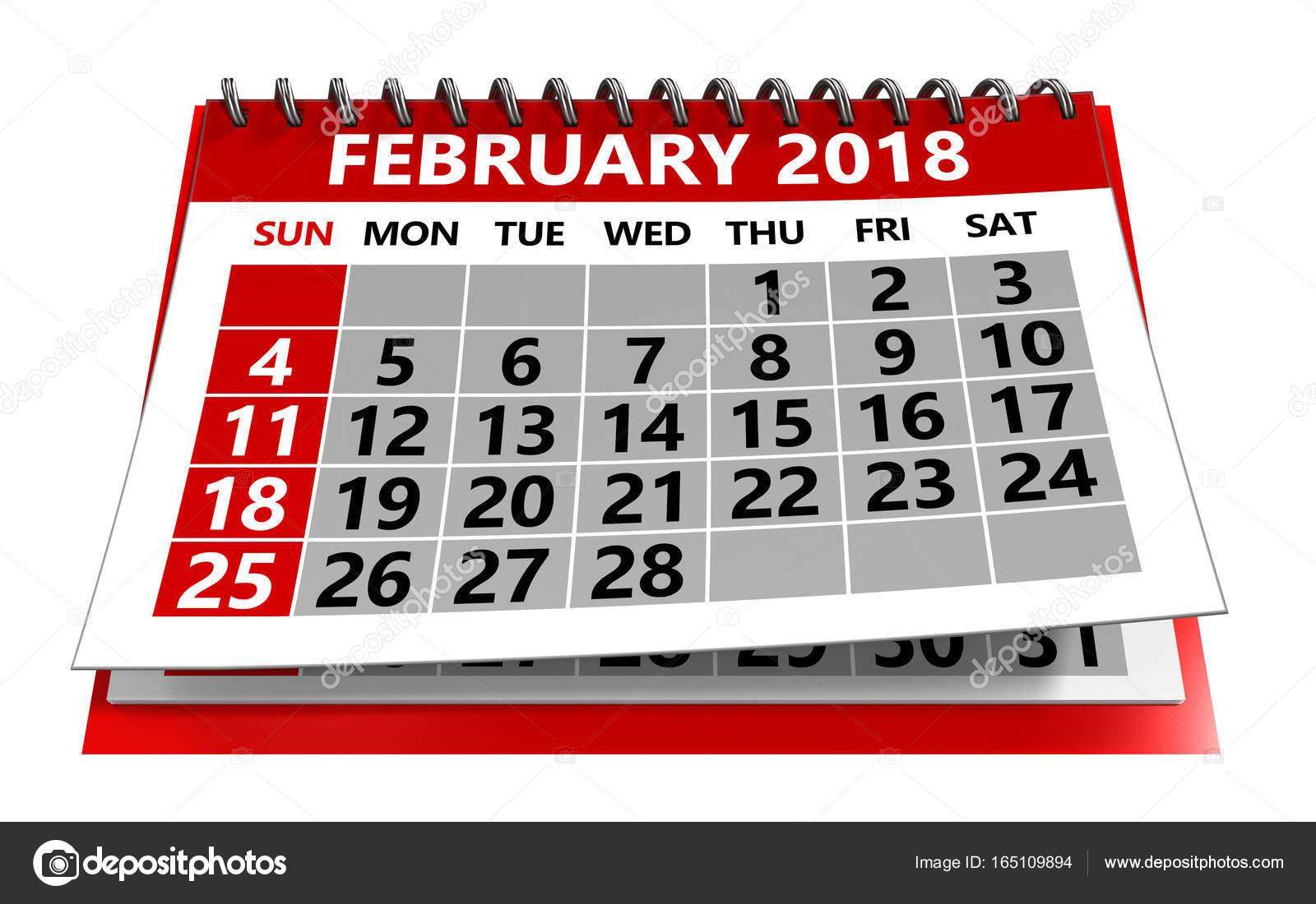a026bd611b69d Ilustración 3D de febrero de 2018 calendario aislado sobre fondo blanco -  foto  del calendario