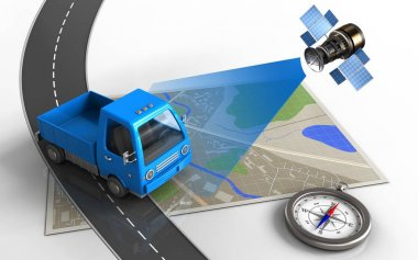 illustration of map with truck
