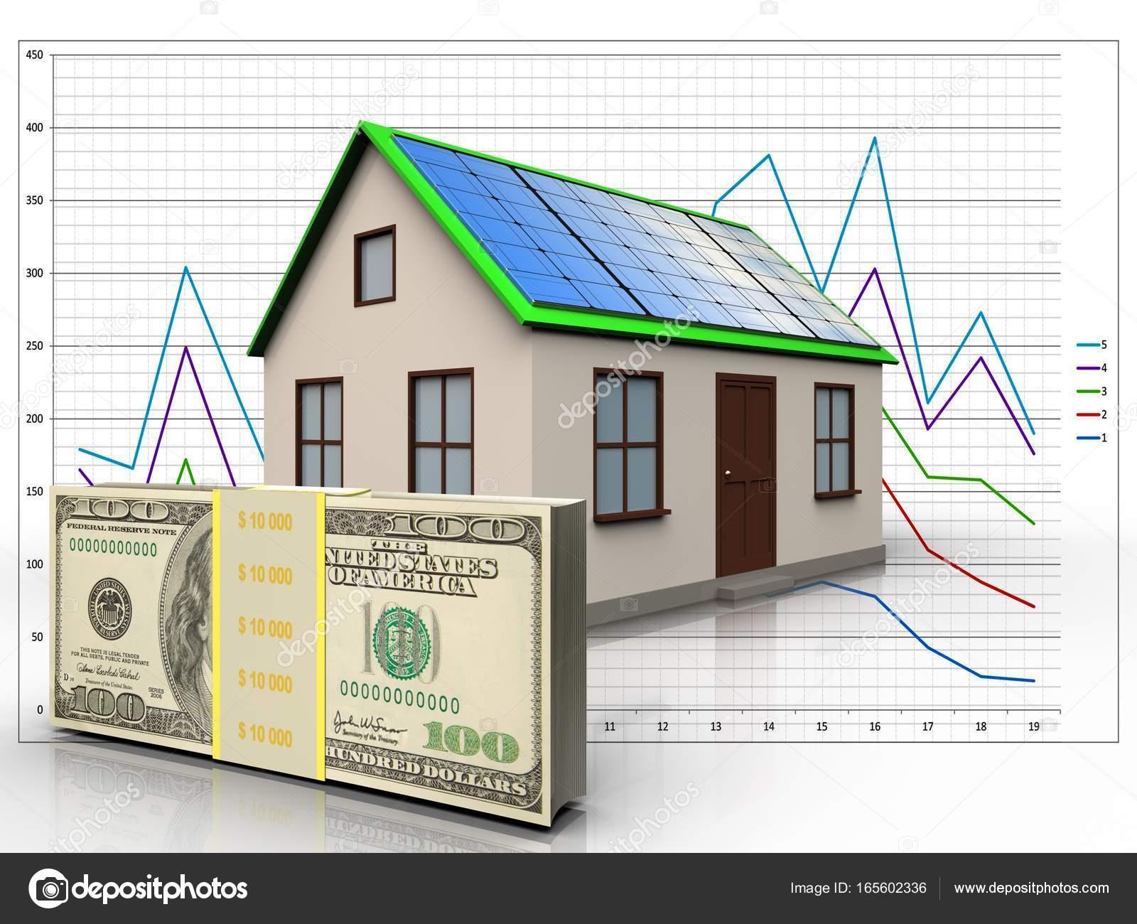 3D Abbildung Des Hauses Mit Solar Panel Mit Geld über Diagrammhintergrund U2014  Foto Von Mmaxer