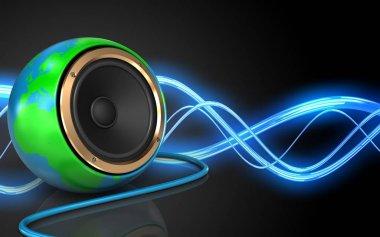 earth globe speaker over sound wave