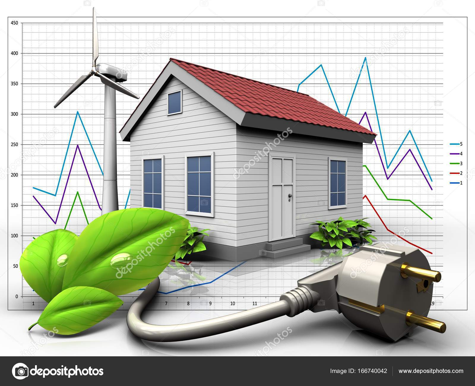 Wind Energy House Stock Photo Mmaxer 166740042 Turbines Diagram 3d Illustration Of With Eco Power Cable Over Background By