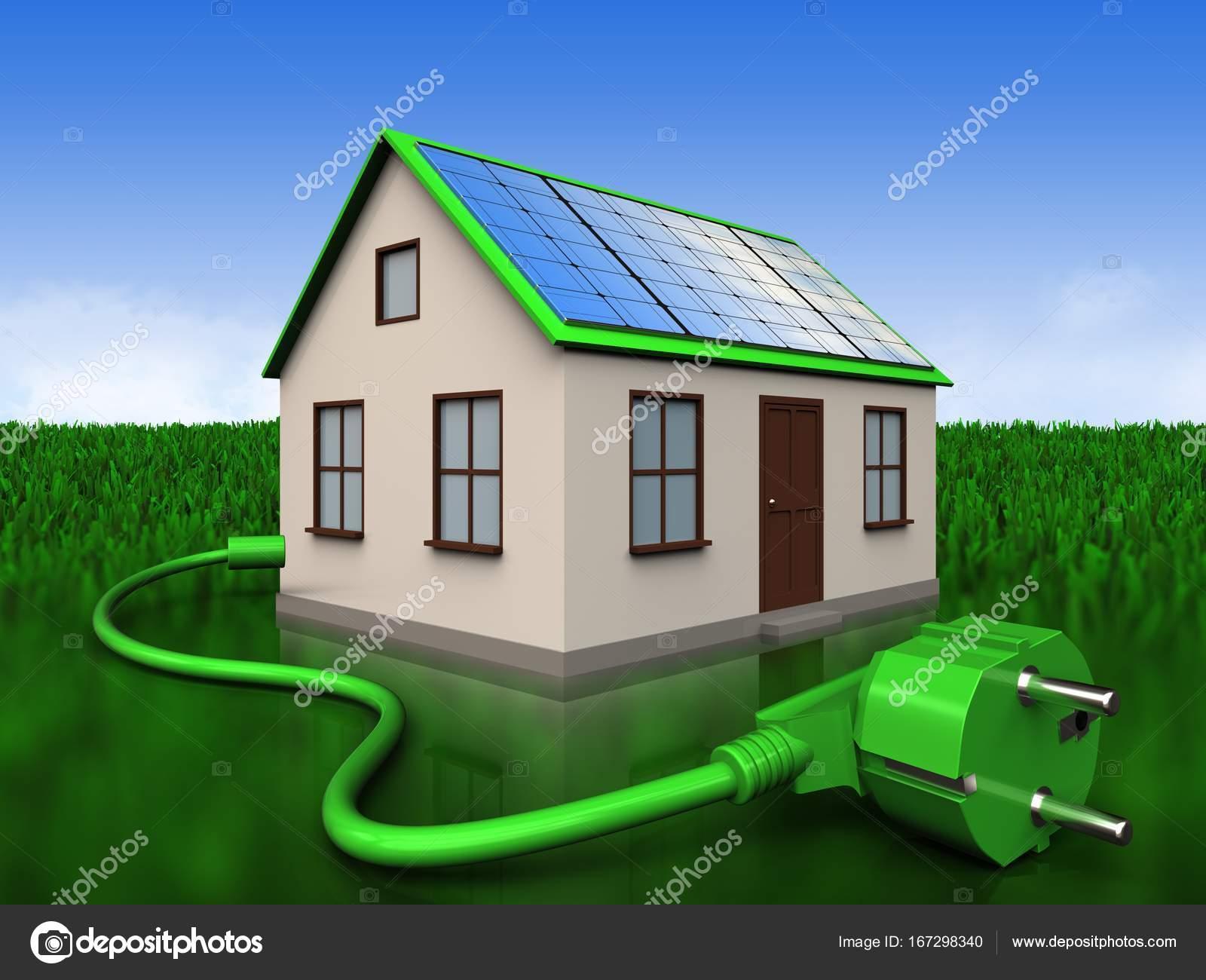 Elegant 3D Abbildung Des Hauses Mit Solar Panel Mit Netzkabel über Wiese  Hintergrund U2014 Foto Von Mmaxer