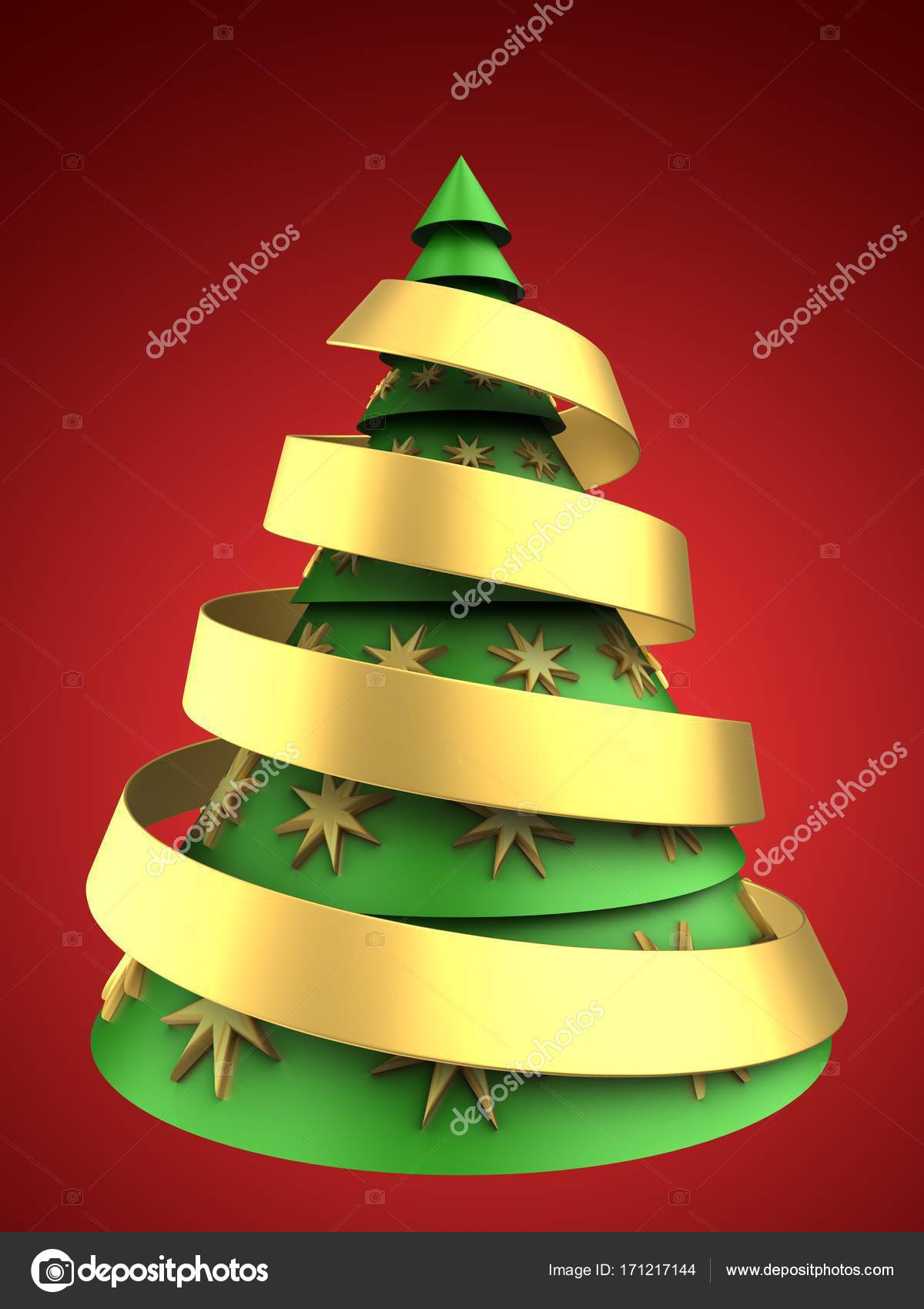 3D Illustration Of Christmas Tree Over Red Background With Ribbon