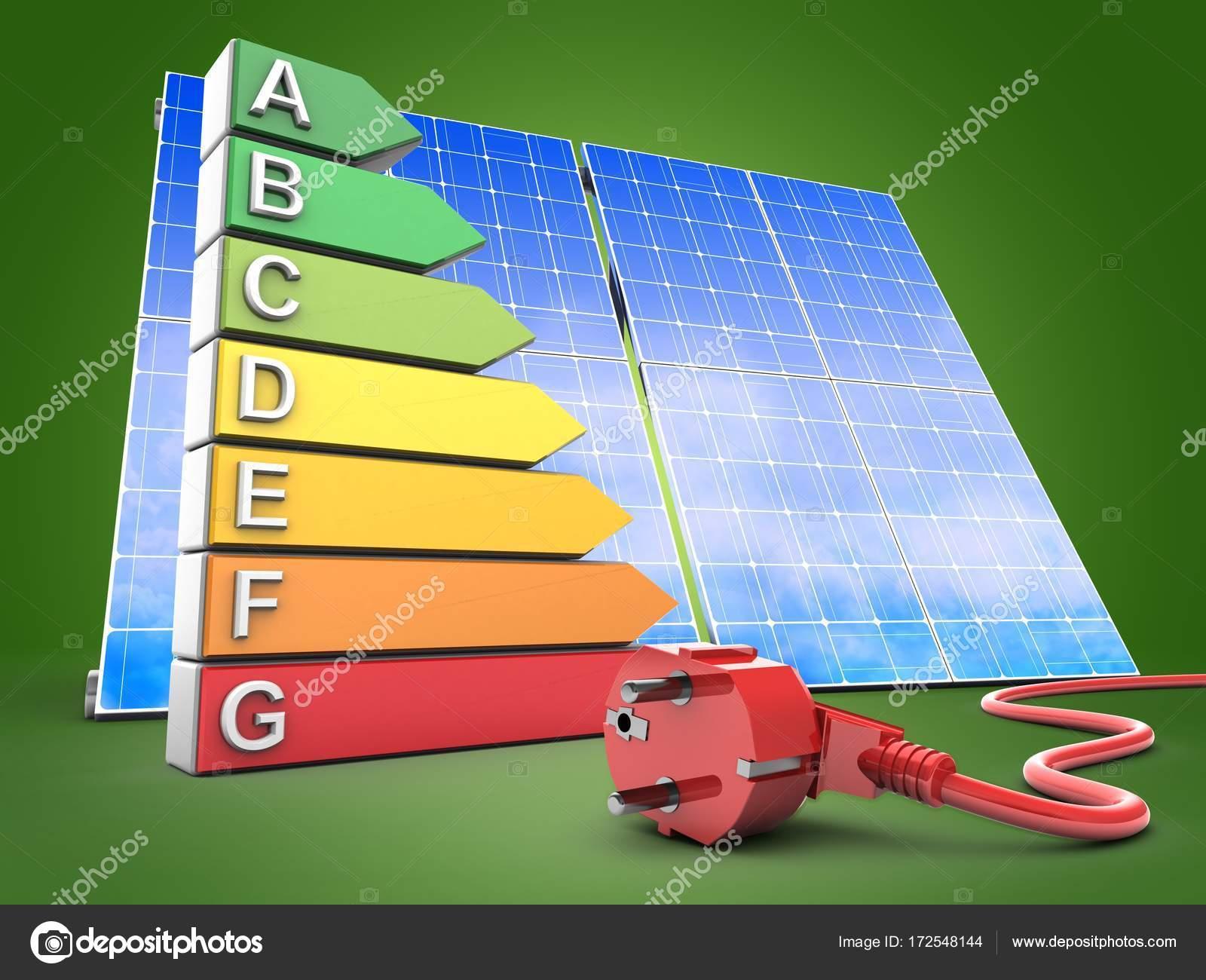 Superior 3D Darstellung Der Energie Ranking Auf Grünem Hintergrund Mit Solar Panel  Und Netzkabel U2014 Foto Von Mmaxer