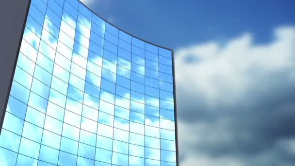 3d animation of building and sky clouds timelapse