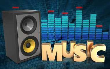 3d illustration of sound system over binary digital background with music sign