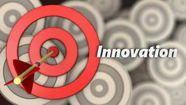 3d illustration of target circles with innovation sign over multiple targets background