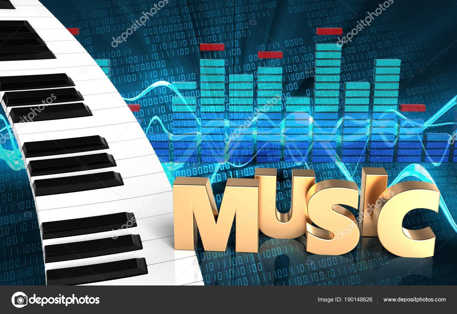 Illustration Piano Keyboard Sound Wave Digital Background Music Sign