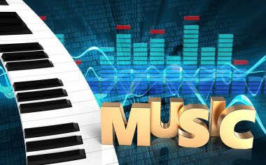 3d illustration of piano keyboard over sound wave digital background with music sign