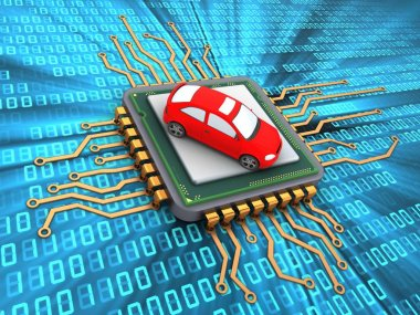 3d illustration of microchip over digital background with car