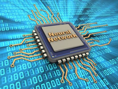 3d illustration of processor over digital background with neural network sign