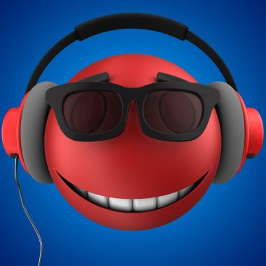 emoticon smile with red headphones
