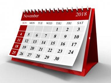 3d illustration of flip page calendar over white back, 2018 november