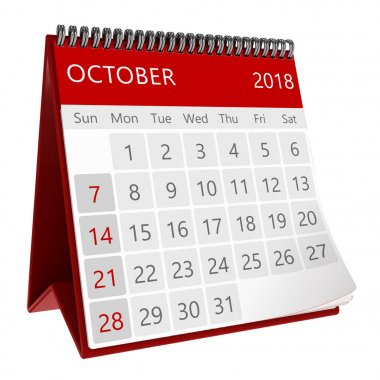 3d illustration of flip page calendar of october 2018 year isolated on white background, close-up