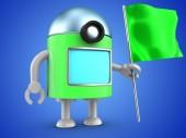 Fényképek 3D-s illusztráció, robot, zöld zászló alatt kék háttér