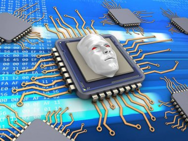 3d illustration of electronic microprocessor with evil face and with code inside over digital background