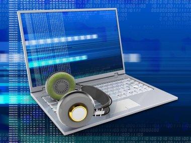 3d illustration of laptop with headphones over digital background