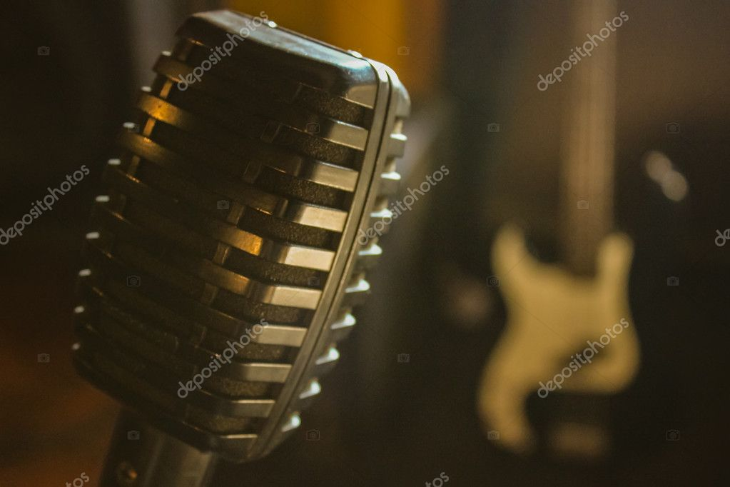 Microphone in the music studio