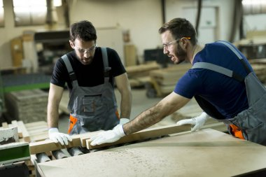 Young men working in lumber workshop