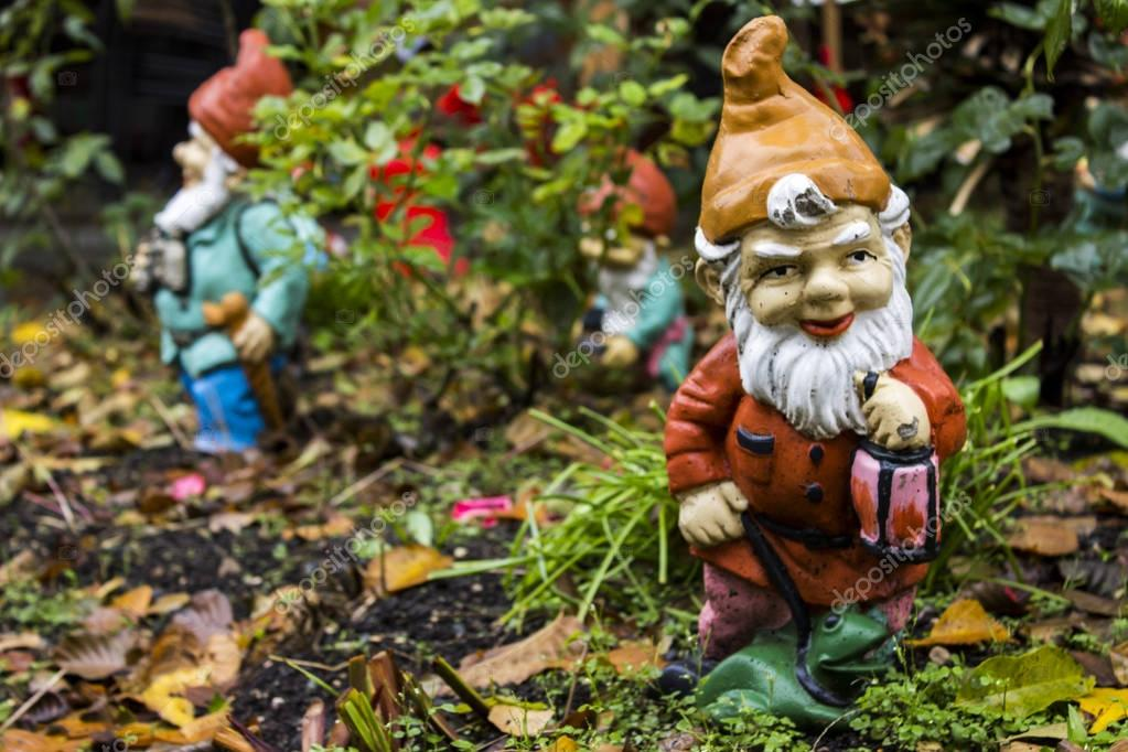Closeup of the garden gnomes in the autumn backyard