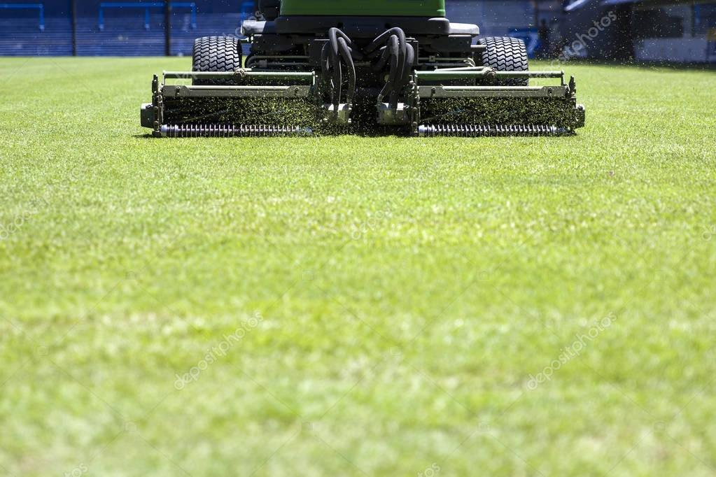 Lawnmower on the stadium