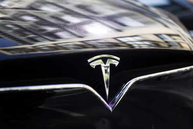 NEW YORK, USA - AUGUST 30, 2017: Detail from Tesla car in New York. It is an American company that specializes in electric automotives founded at 2003.