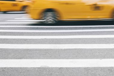 New York City cabs in the motion on the street