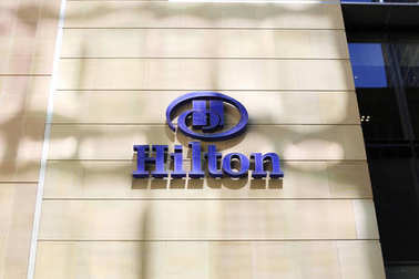 SYDNEY, AUSTRALIA - JANUARY 23, 2017: Detail from Hilton hotel in Sydney, Australia. Hilton Hotels & Resorts is a global brand of hotels founded in 1919 at Cisco, Texas.