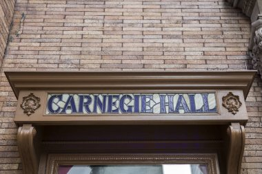 NEW YORK, USA - AUGUST 26, 2017: Detail from Carnegie Hall in New York City. It is a concert venue in Midtown Manhattan opened at 1891.
