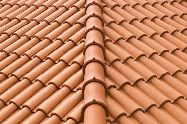 Closeup detail view of the roof tiles