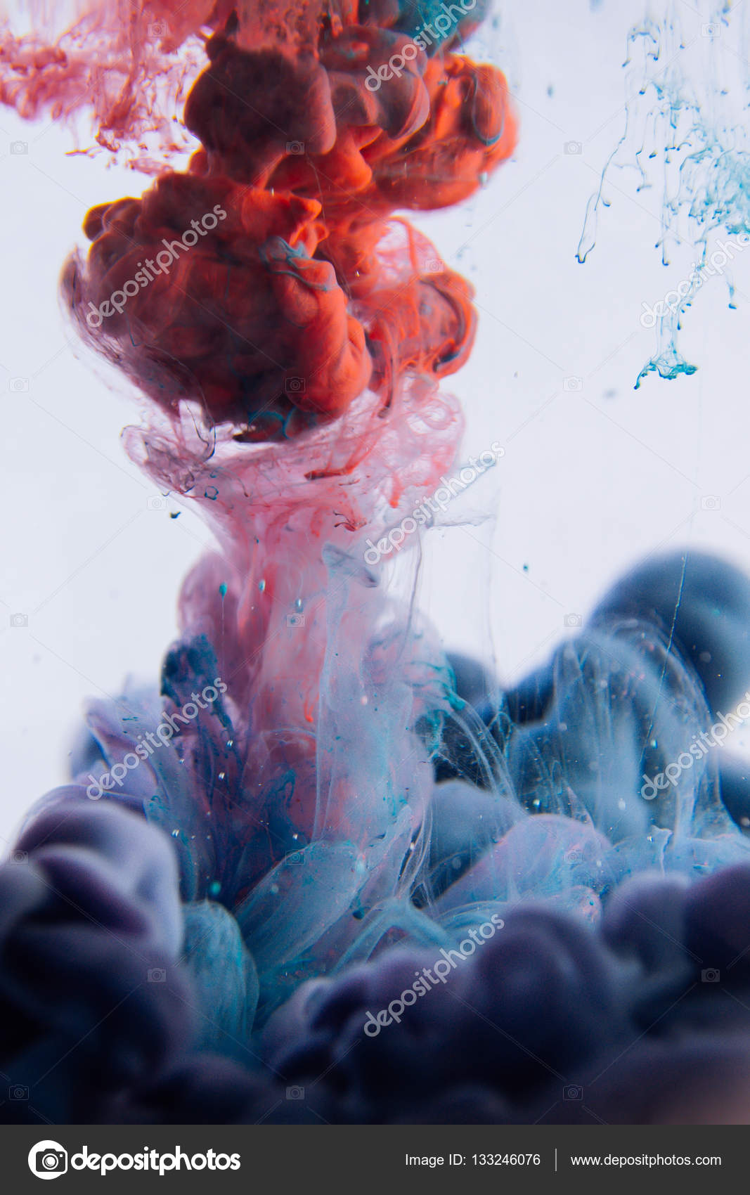 The Colorful Dye In Water Abstract Background Wallpaper Concept Art Stock