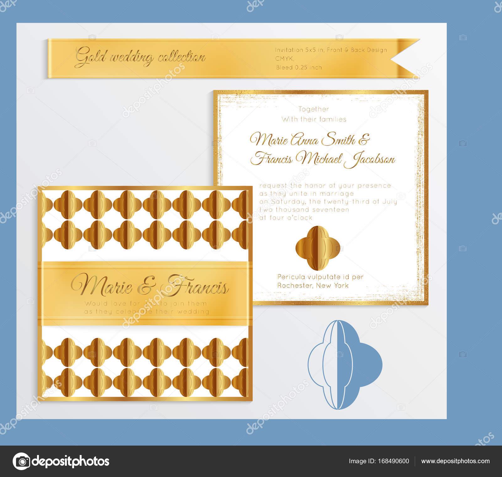 Luxus Hochzeit Einladung Vorlage mit gold glänzenden realistische ...