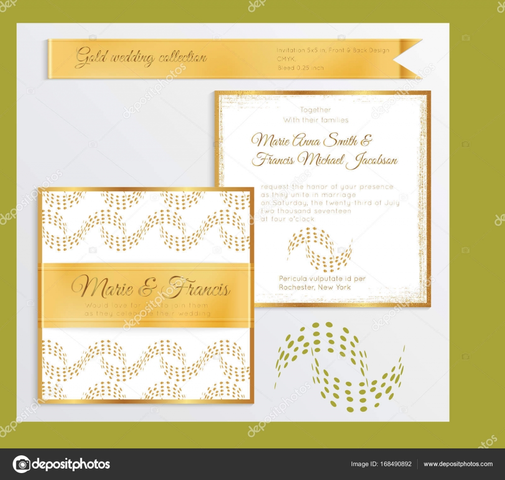 Wedding card layout wedding dress decore ideas luxury wedding invitation template with gold shiny realistic rib stock vector stopboris Images