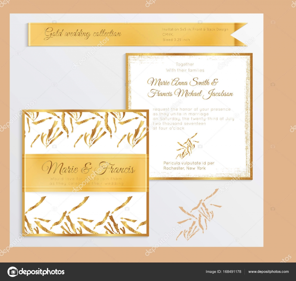 luxury wedding invitation template with gold shiny realistic rib