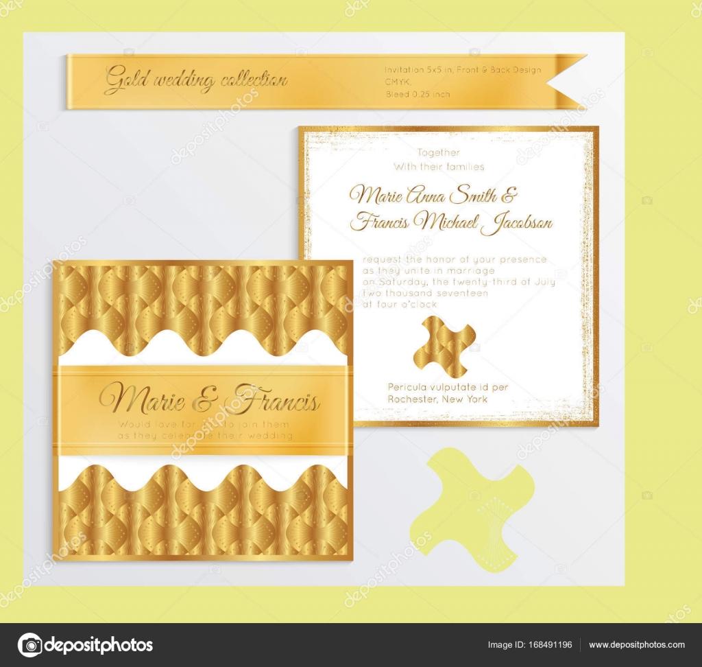 Luxus Hochzeit Einladung Vorlage Mit Gold Glänzenden Realistische Rippe U2014  Stockvektor