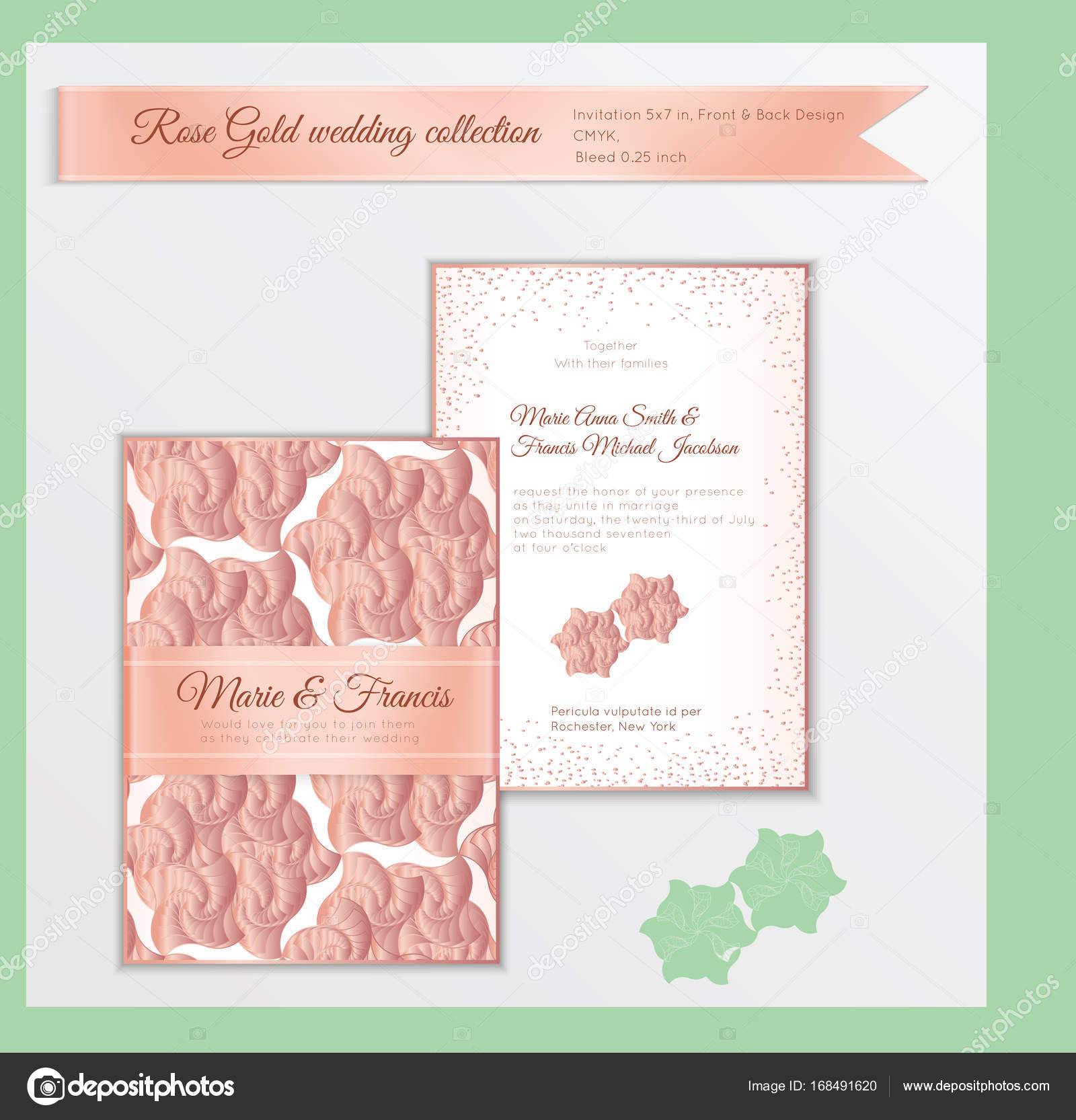Luxus Hochzeit Einladung Vorlage Mit Rose Gold Glänzendes Realistische  Band. Hinteren Und Vorderen Kartenlayout Mit Rosa Goldenen Muster Auf Weiß.  Isoliert.