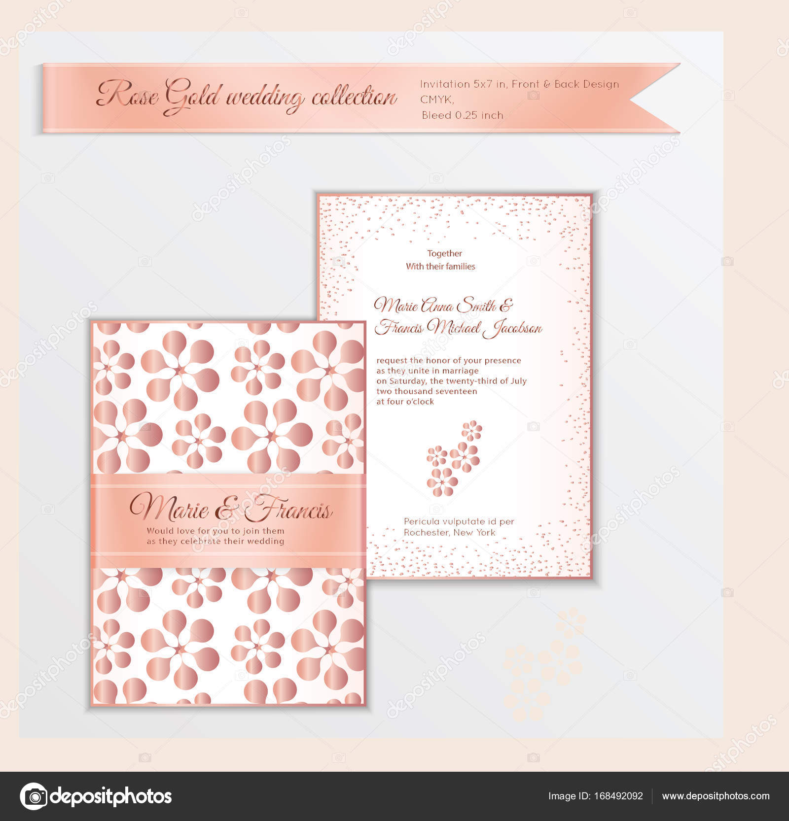 luxury wedding invitation template with rose gold shiny realisti