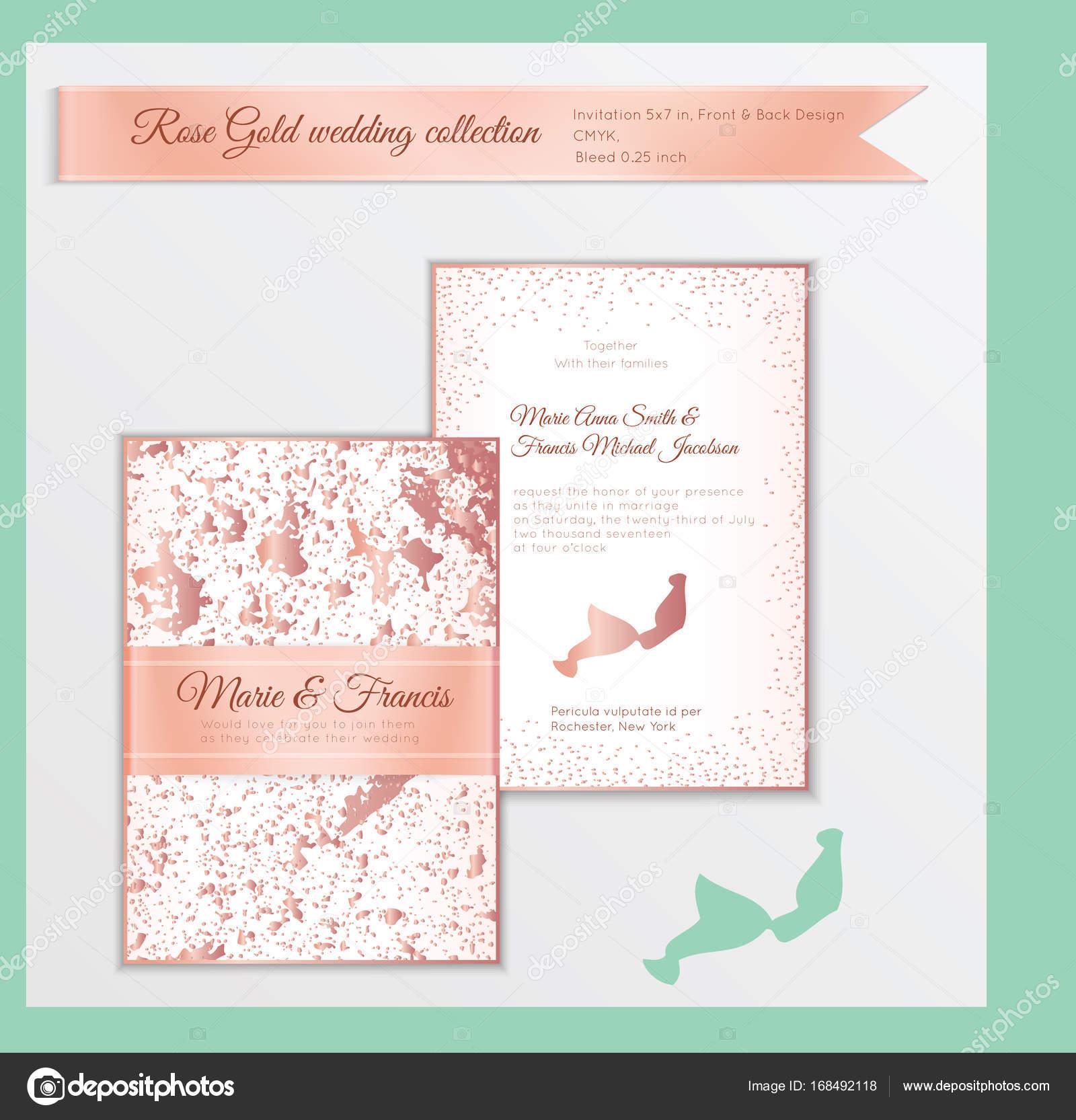 Luxus Hochzeit Einladung Vorlage mit rose gold glänzend realitätsnah ...
