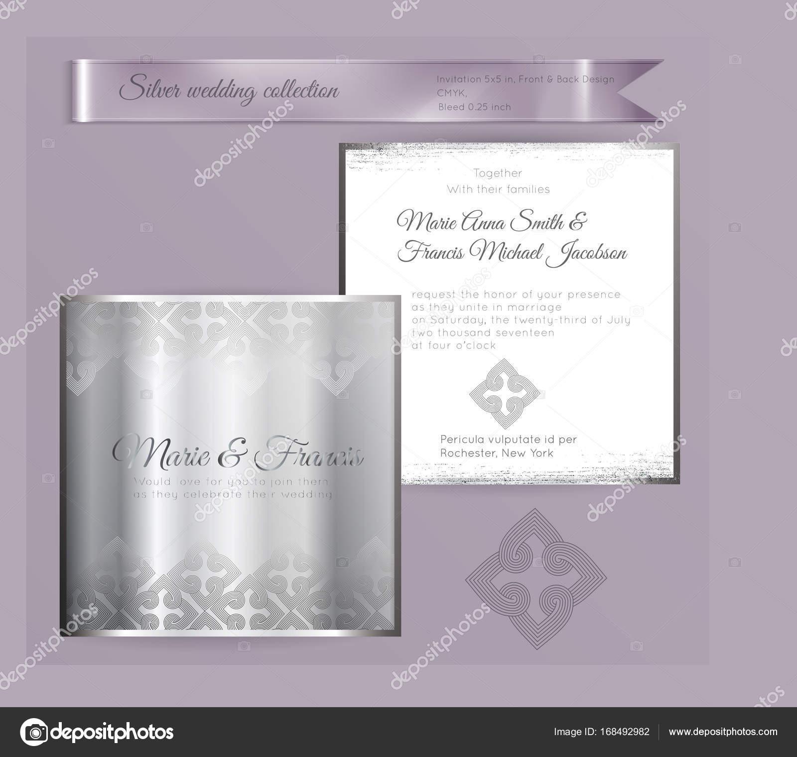 Luxus Hochzeit Einladung Vorlage mit Silber glänzenden ornament ...