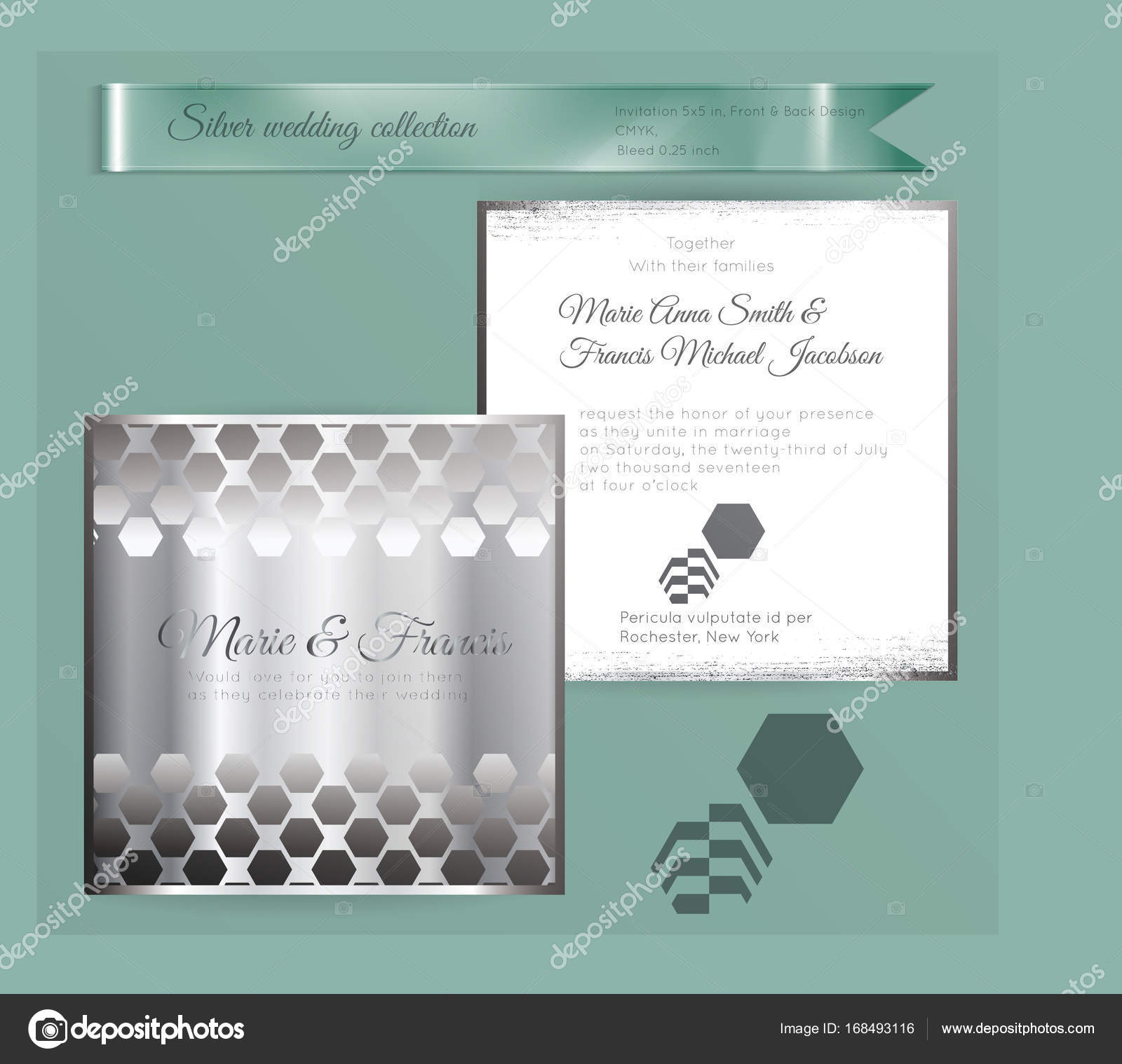 Luxury Wedding Invitation Template With Silver Shiny Ornament