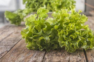 Green lettuce leaves. Lettuce leaves on wooden background. Fresh lettuce on kitchen table. Healthy organic food.