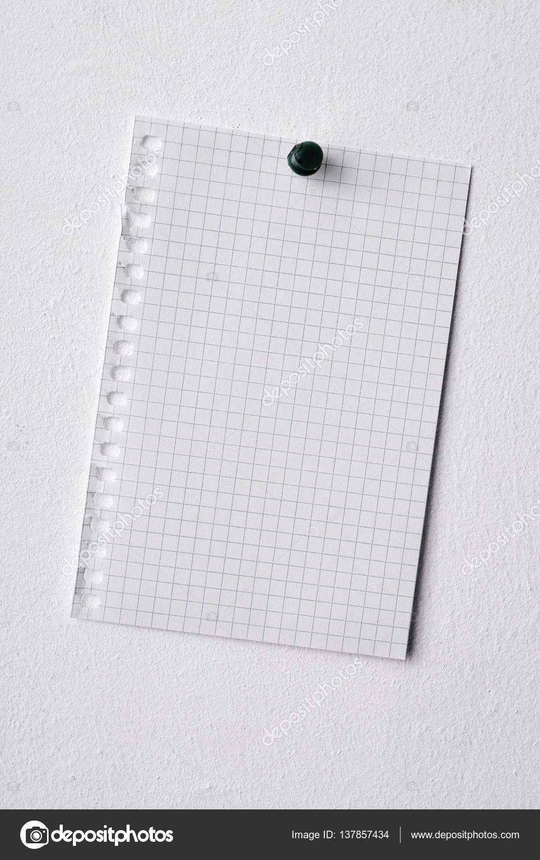 blank piece of paper pinned in a wall stock photo nito103 137857434