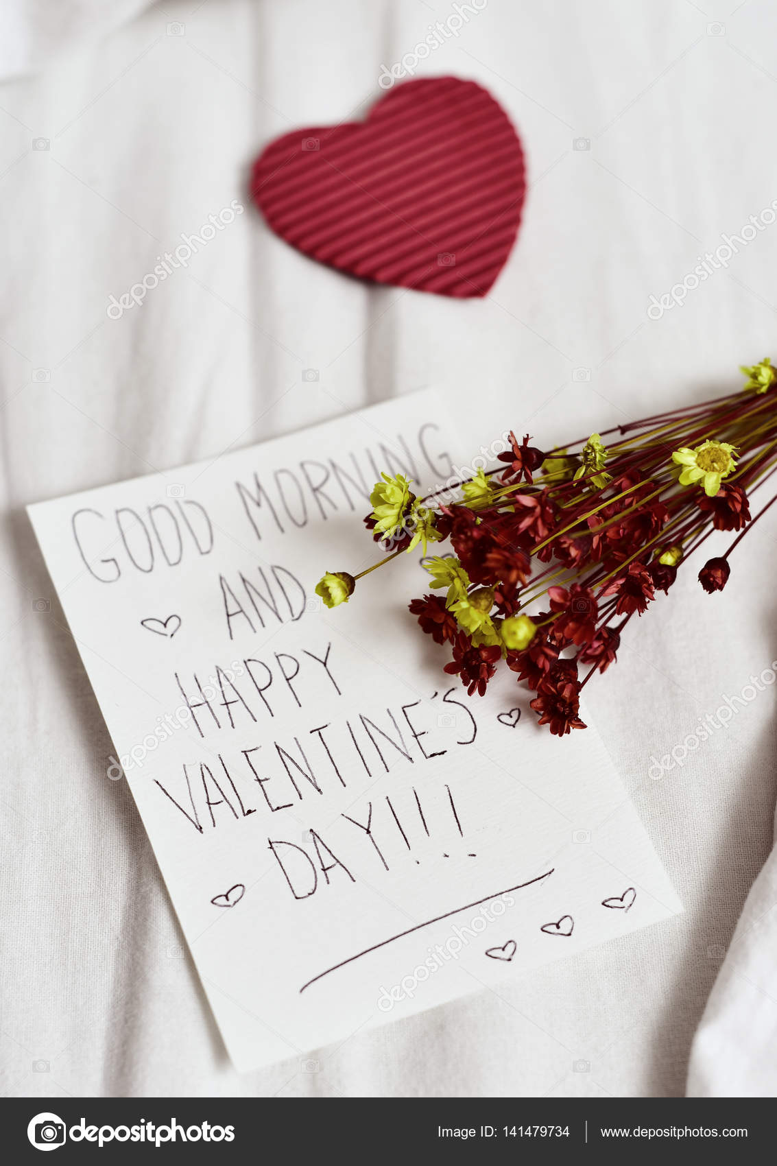 Dzień Dobry Tekst I Szczęśliwy Walentynki Zdjęcie Stockowe