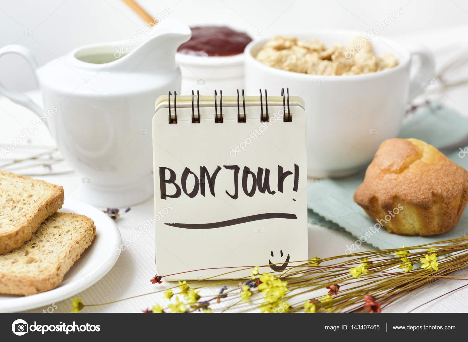 Elegant Guten Morgen Frühstück Galerie Von Frühstück Und Text Französisch In — Stockfoto