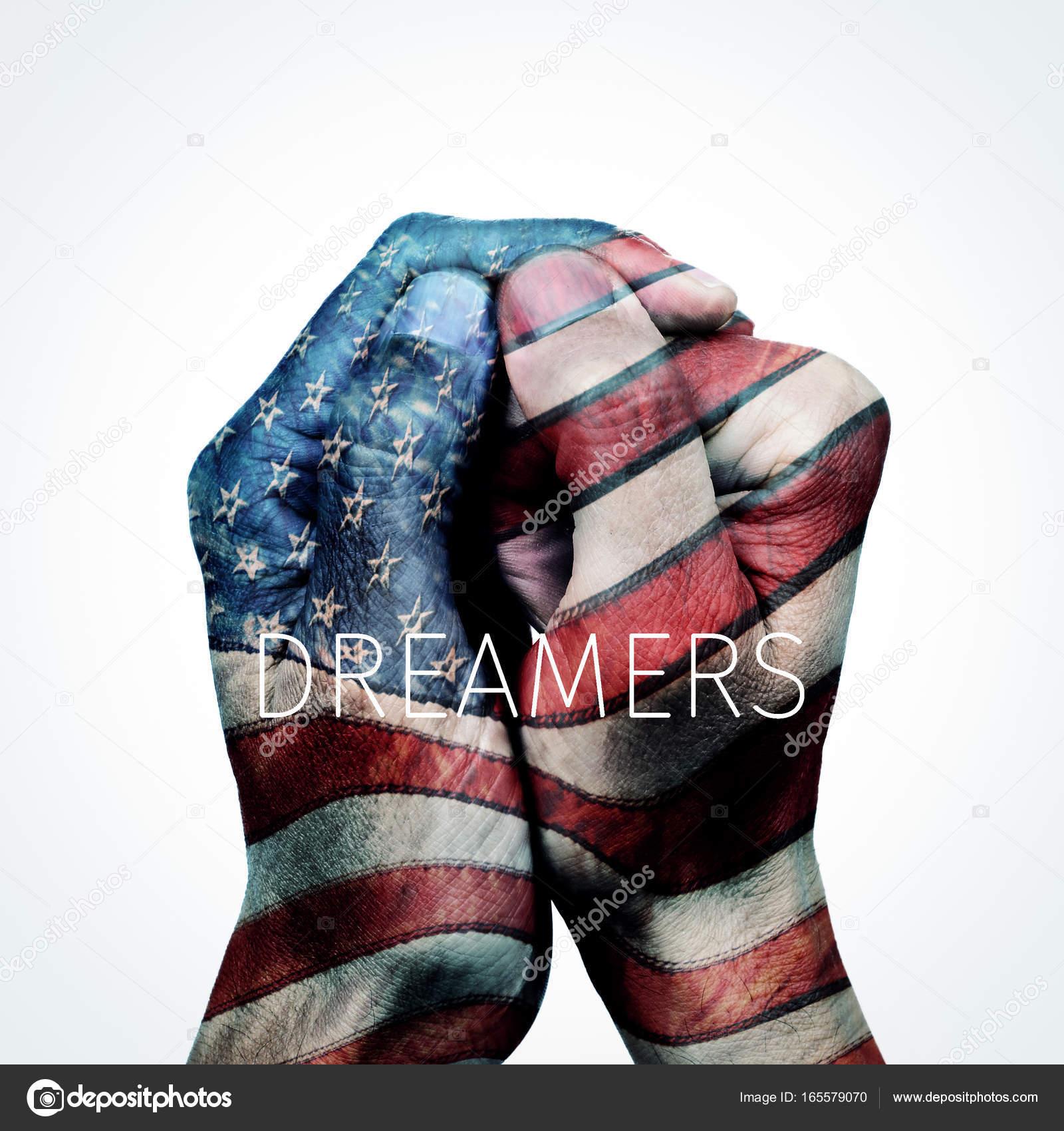 Text-Träumer und amerikanische Flagge — Stockfoto © nito103 #165579070
