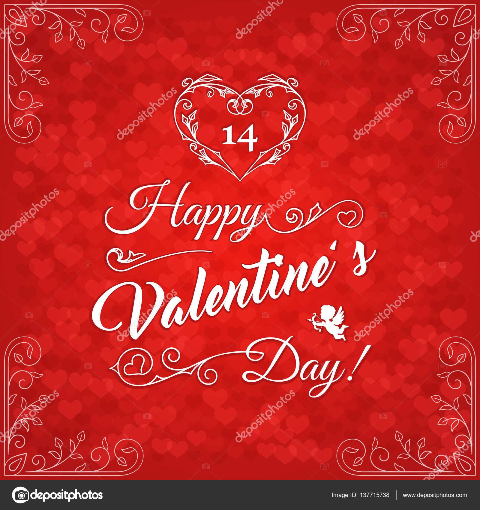 Happy Valentines Day Vintage Card4 Stock Vector C Genestro 137715738