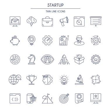 Startup thin line Icons Set