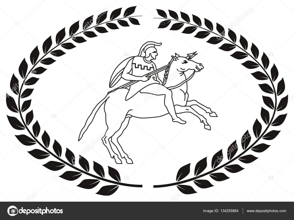 Hand Drawn Decorative Logo With The Ancient Greek Warrior Stock